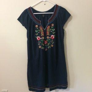 Lucky Brand Embroidered Denim Dress